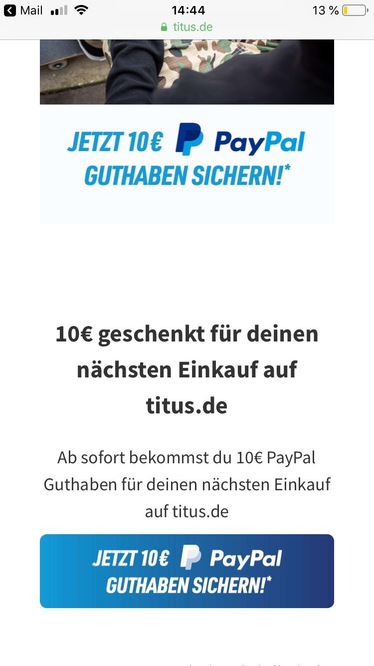 f0a5ebe9e192  Titus Skateshop  10€ Guthaben geschenkt über PayPal