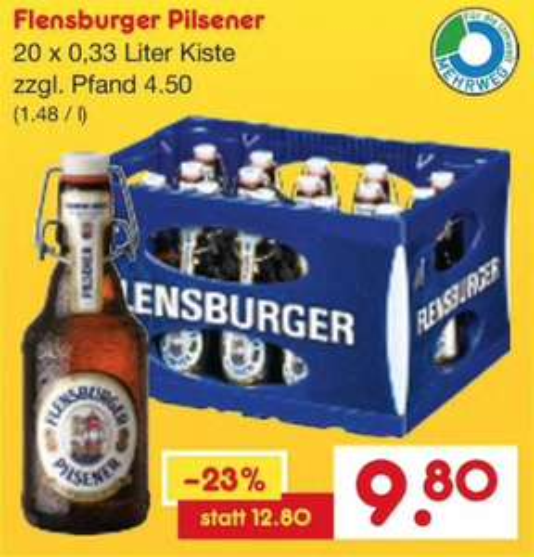 Flensburger Pilsener und Budweiser Lager (20 x 0,33l / 0,5l) [Lokal - Netto Getränkemarkt]