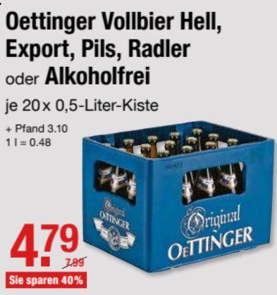 Kasten Oettinger - Pils, Radler, Hell, Export, Alkoholfrei - für 4,79 € @ V-Märkte Muc/Oberbayern ab 11.03.