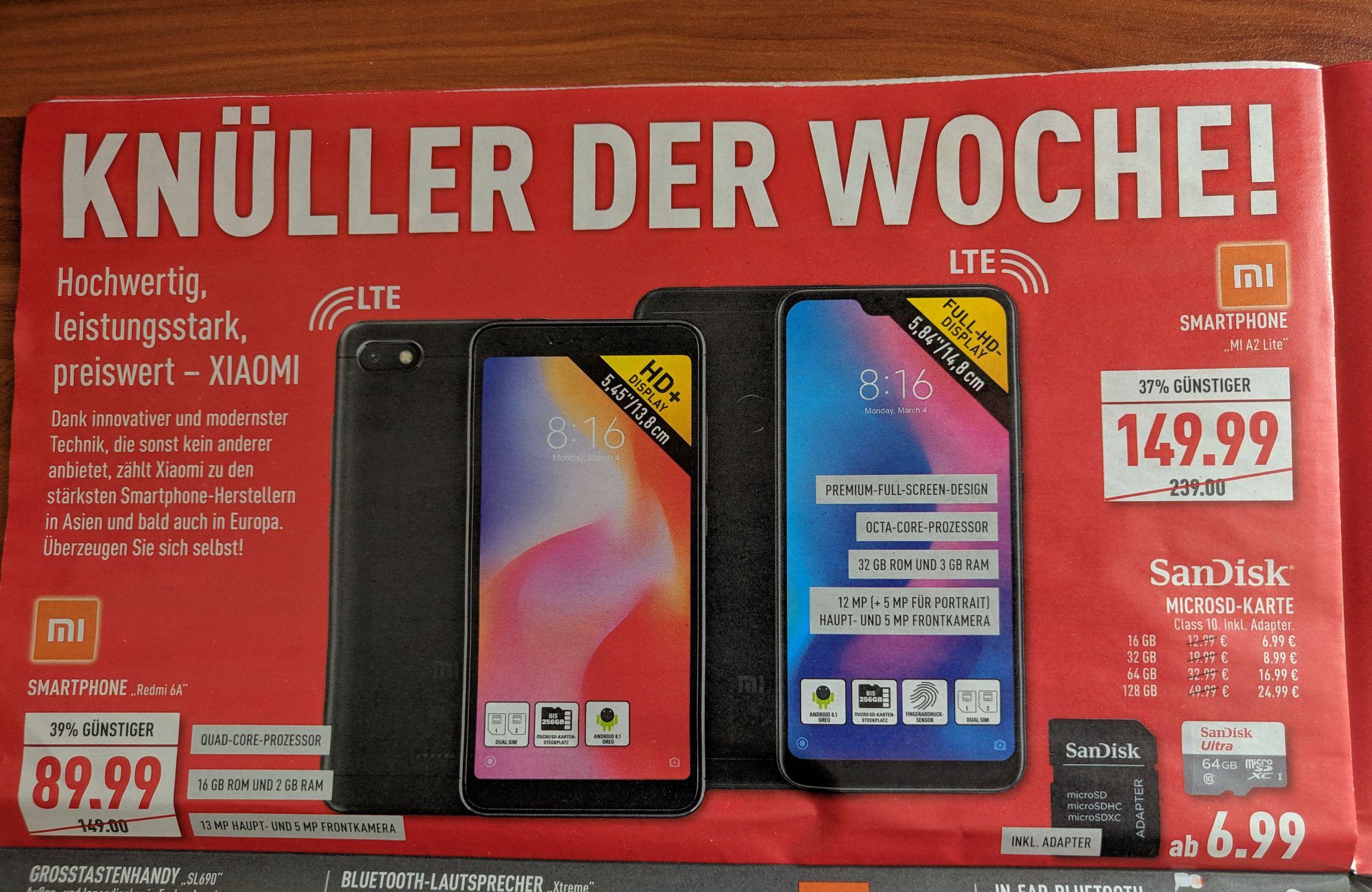 [Lokal Marktkauf] Smartphone Xiaomi Mi A2 Lite 32GB und Redmi 6A