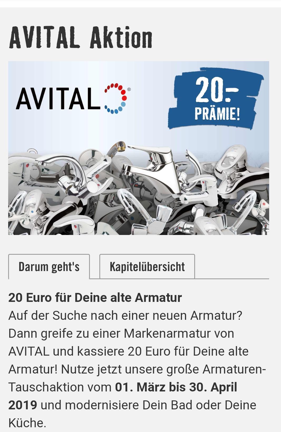 Hornbach: 20€ für Deine alte Armatur beim Kauf einer Avital Armatur