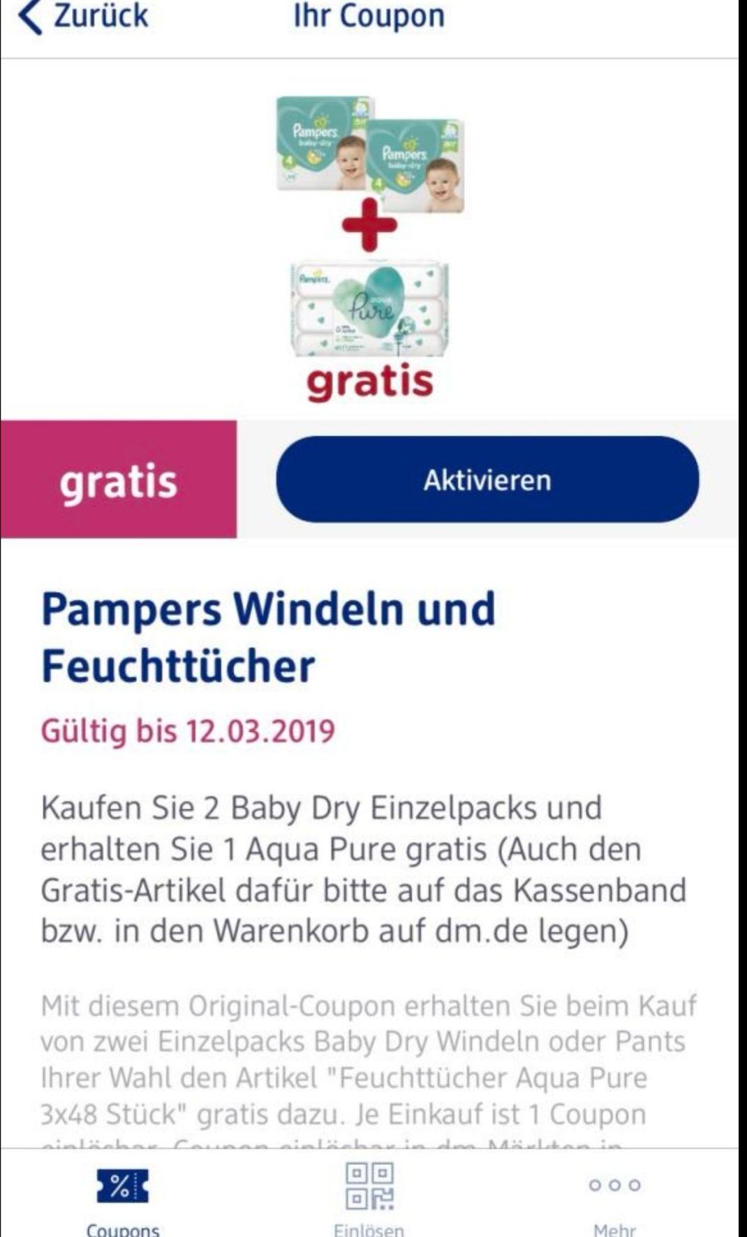 [dm Glückskind - App] - 2 Pkt. Pampers Baby Dry + 144 Feuchttücher Aqua Pure