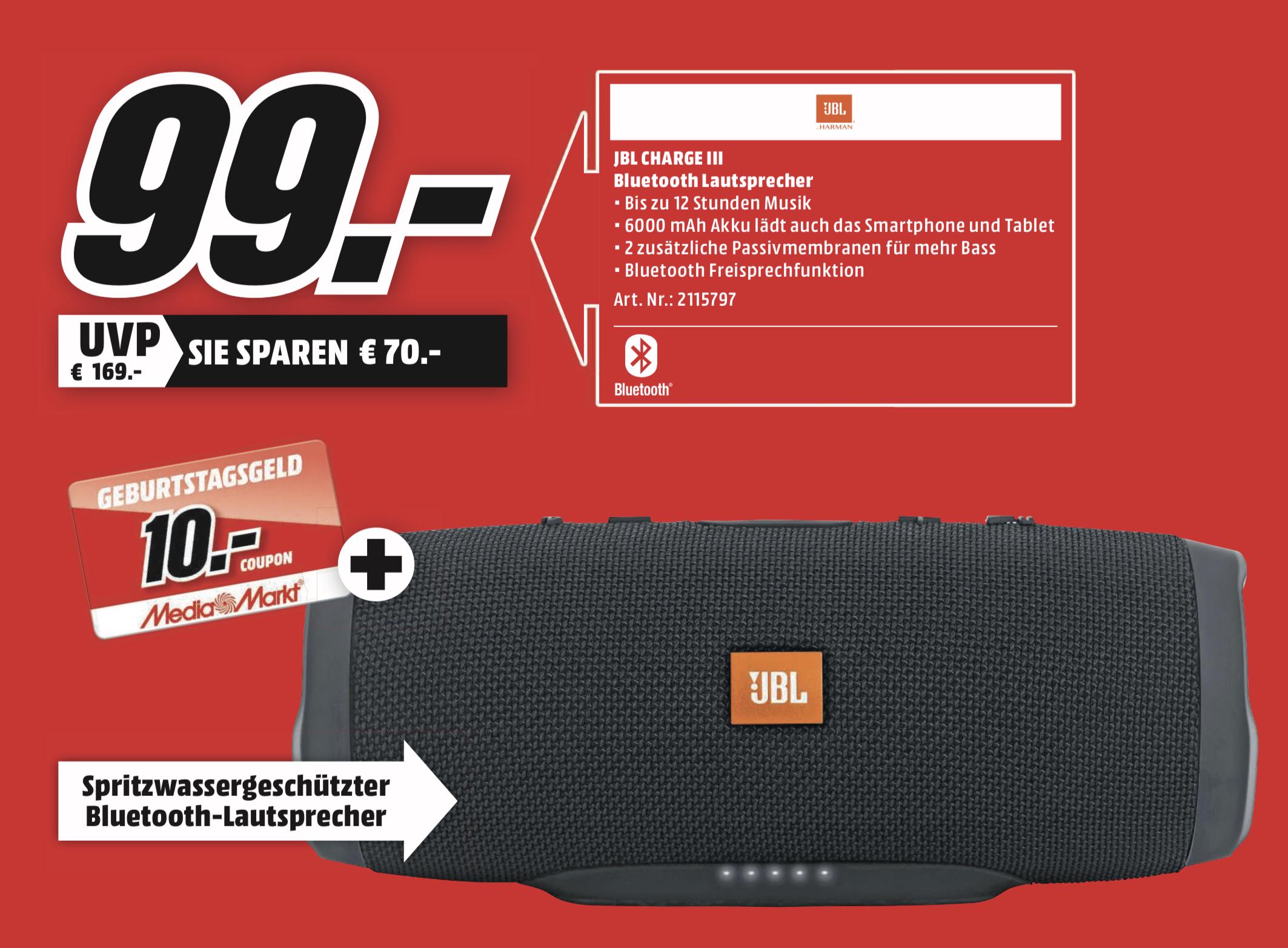 JBL Charge 3 Bluetooth Lautsprecher Schwarz Wasserfest + 10€ Coupon für 99€ [Lokal MediaMarkt Hamburg, Berlin, Bochum usw.]