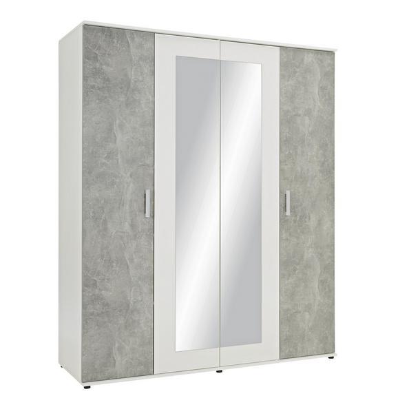 Drehtürenschrank in Weiß und Grau mit Spiegel (180x210x58 cm)