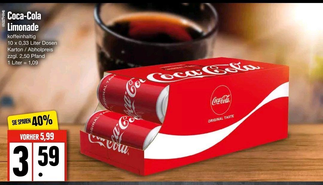 [EDEKA Nord] Coca-Cola Friendspack 10 x 0,33 Liter Dosen für 3,59 € zzgl. Pfand