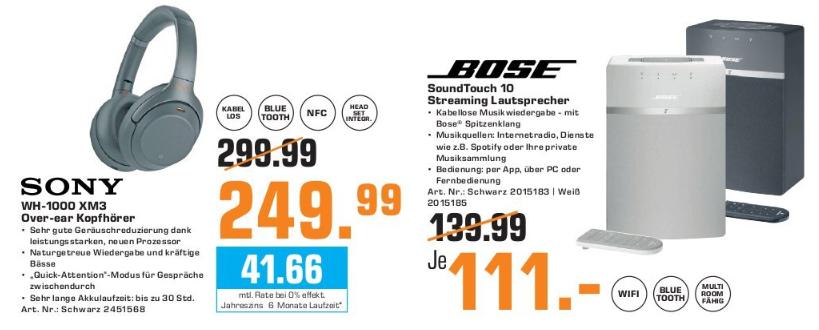 [Lokal: Saturn Pforzheim | Ludwigshafen | Kaiserlautern | Heidelberg | Karlsruhe | Mannheim] Sony WH-1000XM3 | Bose Soundtouch 10 für 111€