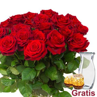 17 rote Rosen für 21,19€ inkl. Versand inkl. Vase & 2 Ferrero Rocher (Frauentag)