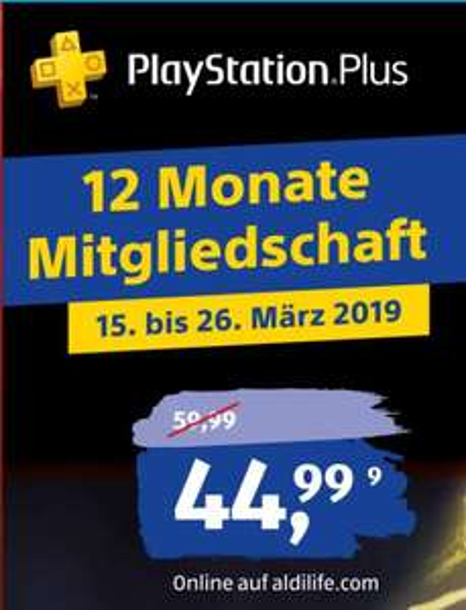 [Aldi-Life/ Real / Expert Bening ] PlayStation®Plus: Mitgliedschaft für 12 Monate für 44,99€