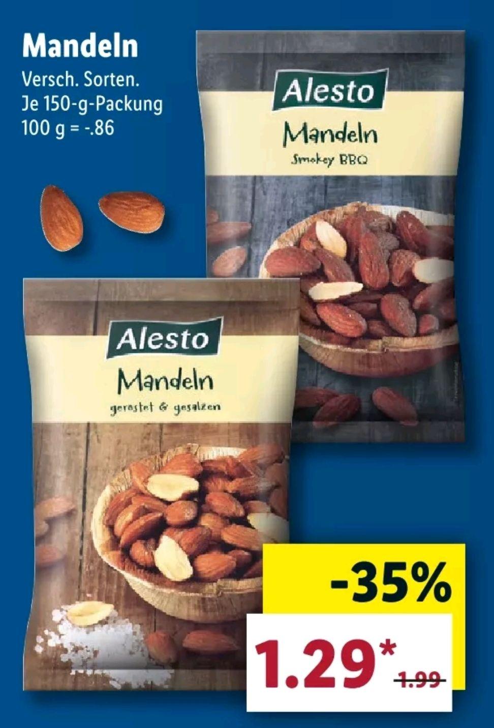 [Lidl] Ab 14.3 Alesto Mandeln 150g Packung für 1.29€ & Walnüsse 200g für 1.69€