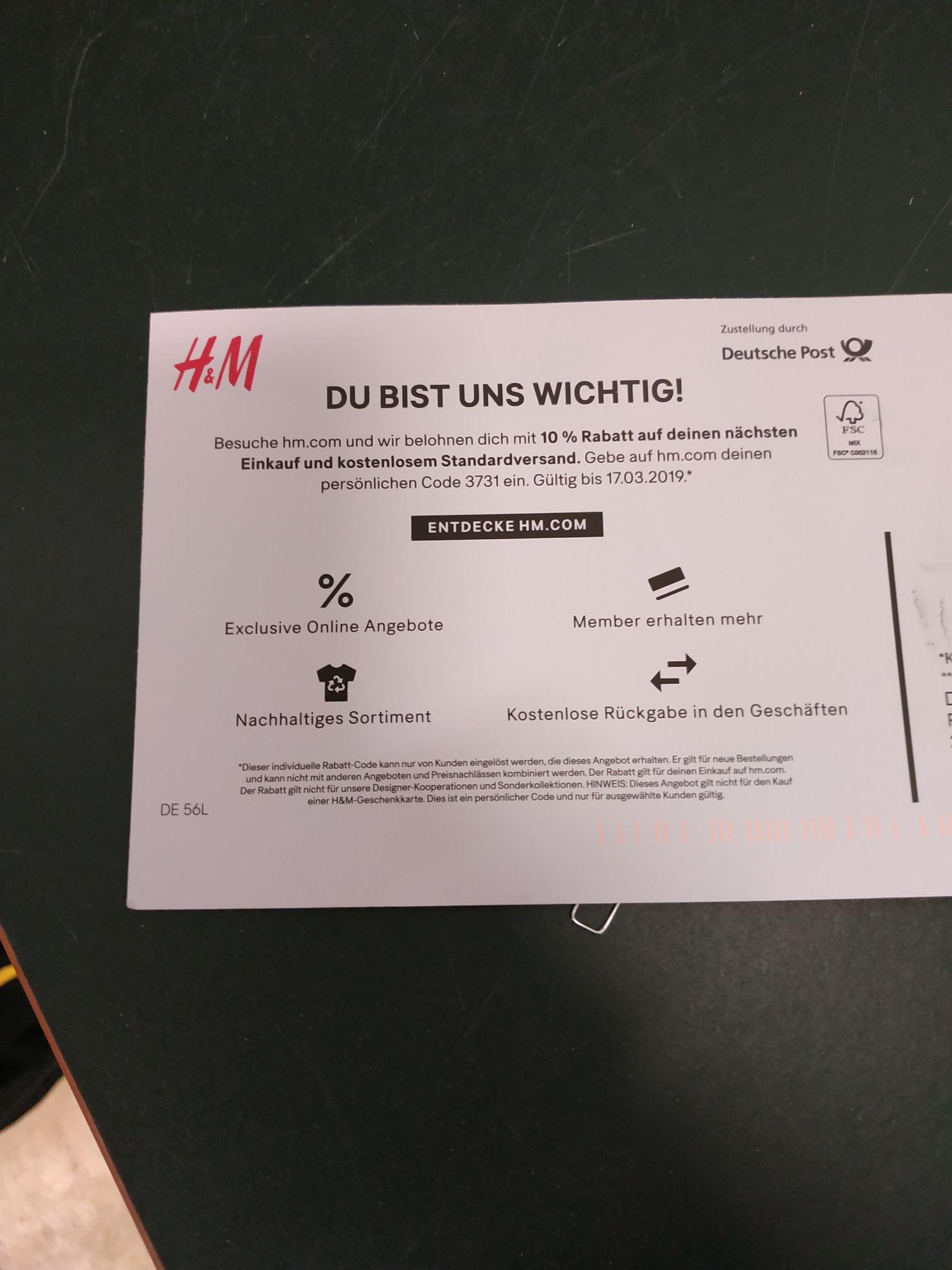 10% und kostenloser Versand bei H&M (evtl ausgewählte Kunden?)