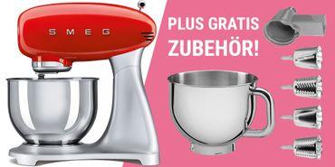 Smeg Retro Küchenmaschine SMF01RDEU für eff. 266,26 € @ mykitchens.de