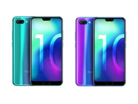 "Honor 10 - 5,84"" Dual SIM Smartphone (64GB, 4GB RAM, 16/24/24MP, USB-C, NFC, Kirin 970, Android 8.1) in blau oder grün"
