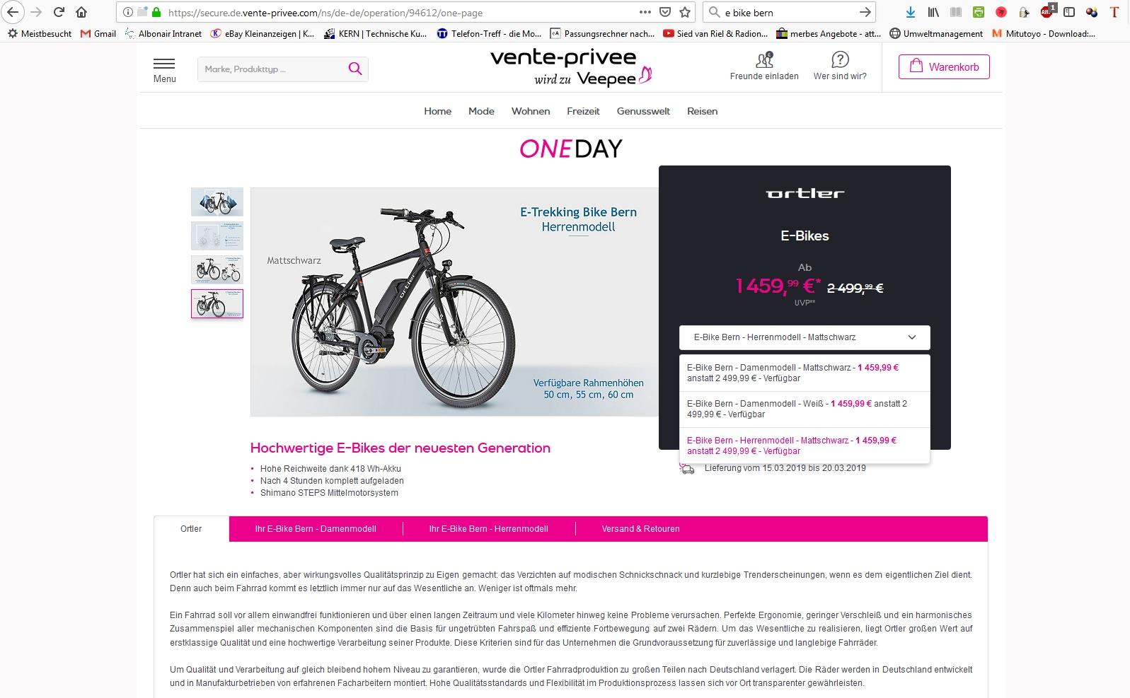 Vente-privee.de Ortler E-Bike(s) BERN (m/w)