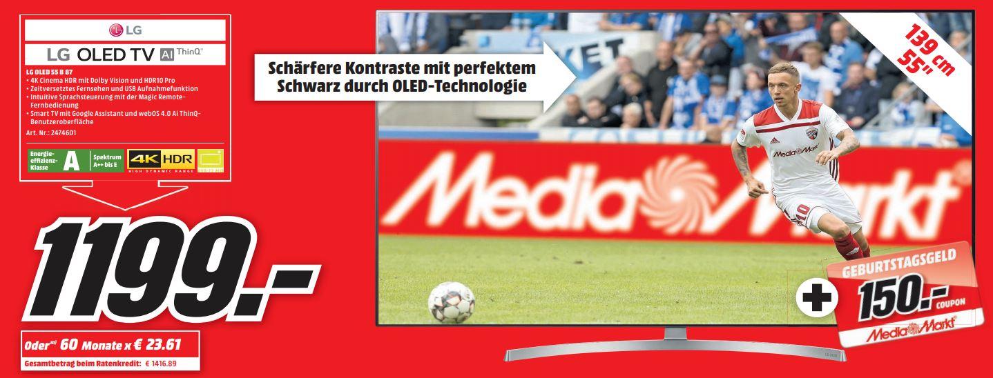 [lokal, Media Markt Bochum Ruhrpark] LG OLED 55 B87 für 1199 € + 150 € Coupon