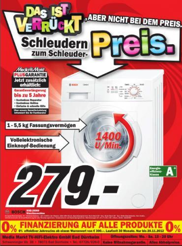 Bosch WAB28060 Waschmaschine Effzkl. A+ (evtl. Lokal in Bad Dürrheim ) für 279€