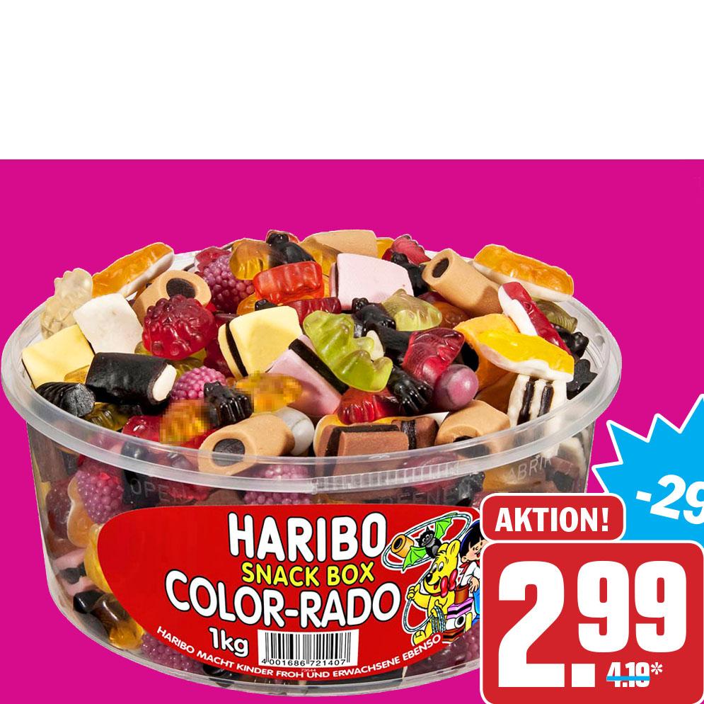 Haribo Lakritz oder Fruchtgummi, verschiedene Sorten in der 1 kg Dose nur 2,99€ bei ( HIT )