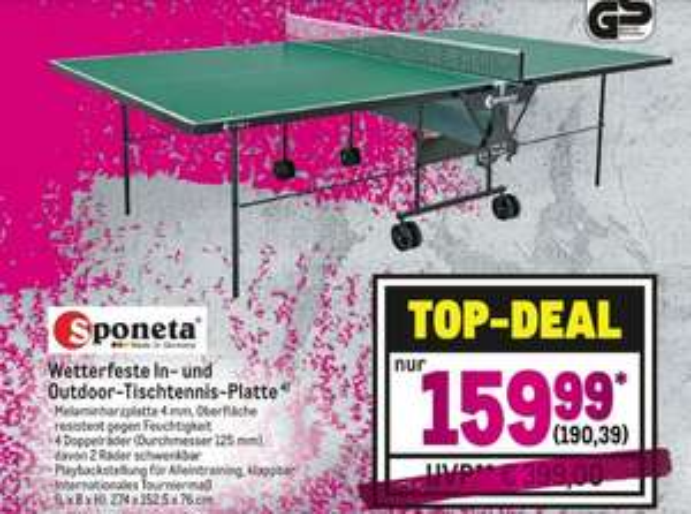 Outdoor-Tischtennisplatte (Sponeta/Schildkröt) @Metro für 190,39 €