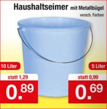 Haushaltseimer mit Metallbügel (verschiedene Farben) 5 Liter für 69 Cent / 10 Liter für 89 Cent [Zimmermann]