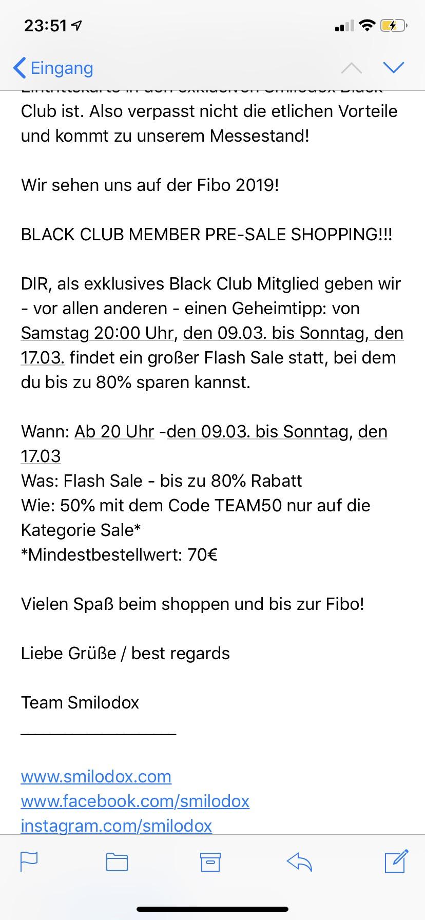 Smilodox 50% Rabatt auf den Sale vom 9.3-17.3