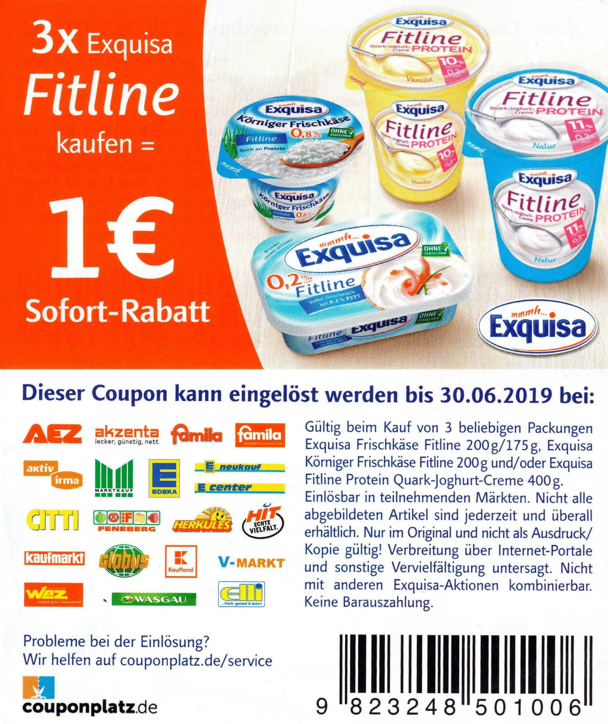 1,00€ Sofort-Rabatt Coupon für den Kauf von 3x Exquisa Fitline Produkte (30.06.2019)