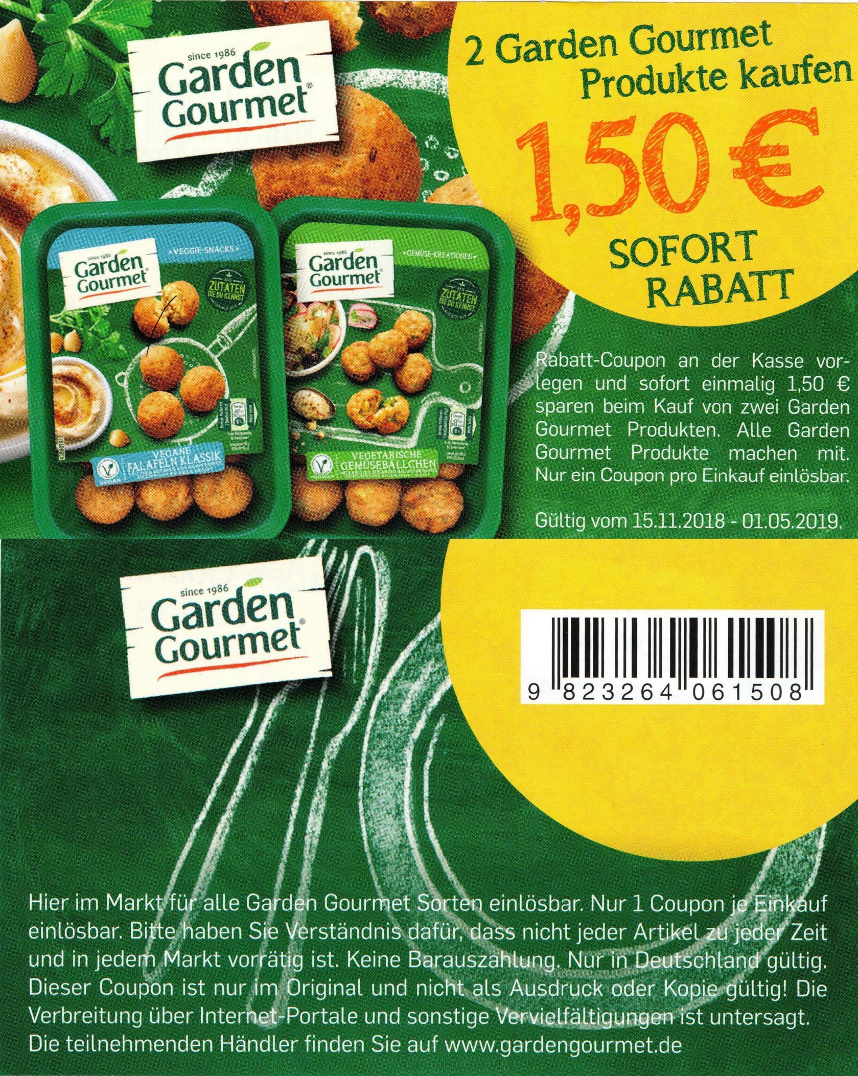 1,50€ Sofort-Rabatt Coupon für den Kauf von 2x Garden Gourmet Produkten (01.05.2019)