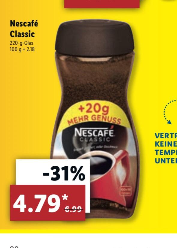[LIDL ab Montag] Nescafé Classic, löslicher Bohnenkaffee, das 220g Glas für 4,79€