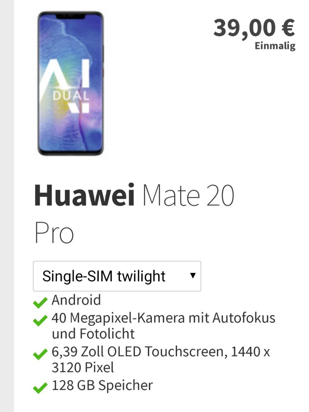 Huawei Mate 20 Pro + O2 Free M 20GB