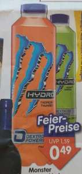 5 Flaschen Monster Energy Hydro mit 0,05€ Gewinn (Scondoo+Angebot) [bei JAWOLL ab 13.03.2019]