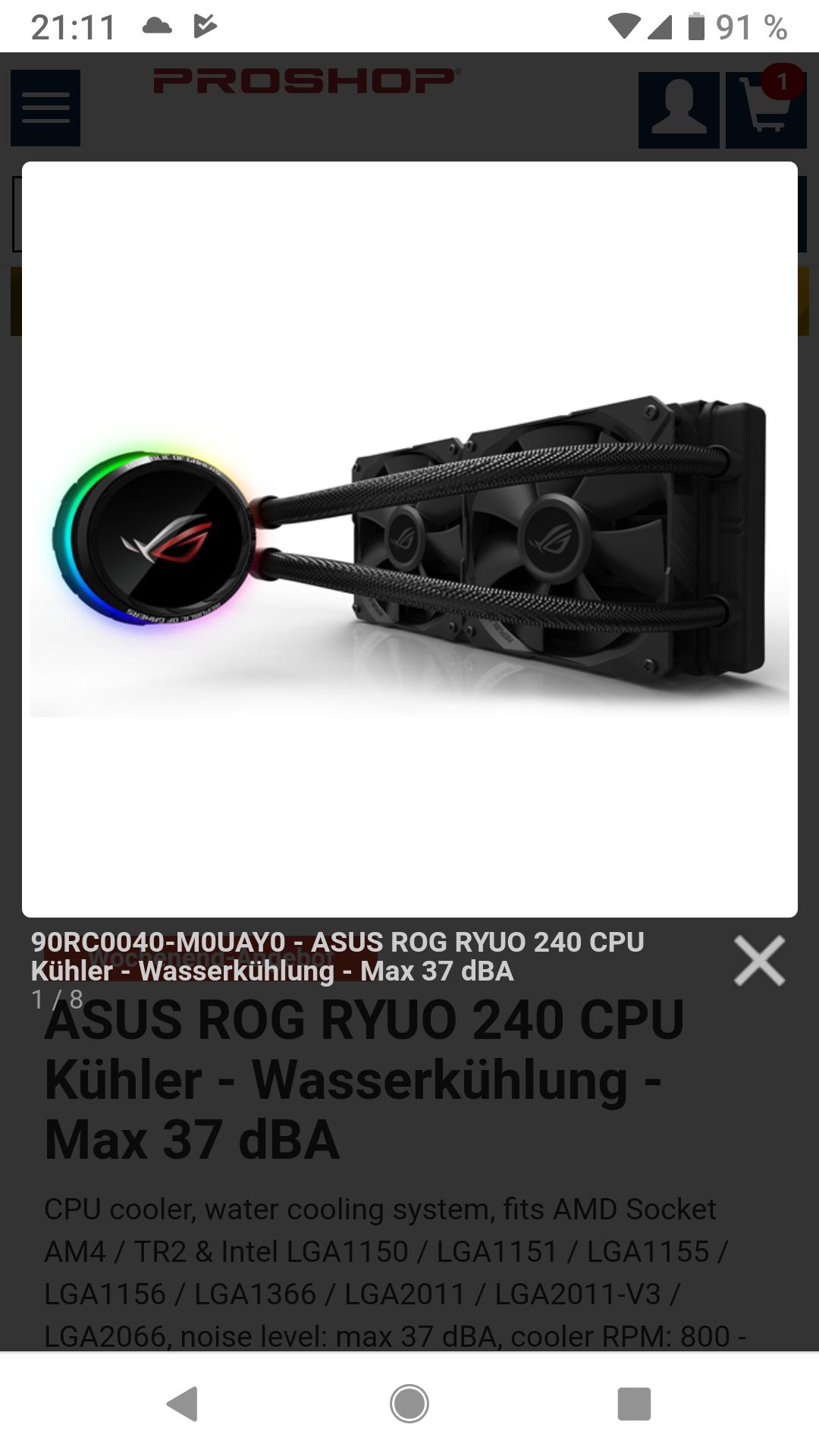 ASUS ROG RYUO 240 CPU Kühler - Wasserkühlung - Max 37 dBA