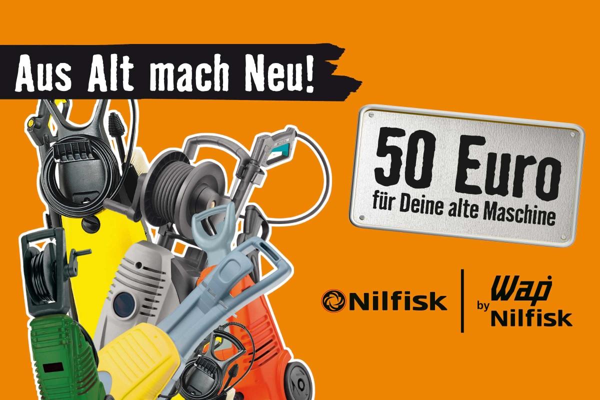 50 Euro Rabatt auf Nilfisk Hochdruckreiniger bei Hornbach - Abwrackprämie - aus Alt mach Neu wieder da!