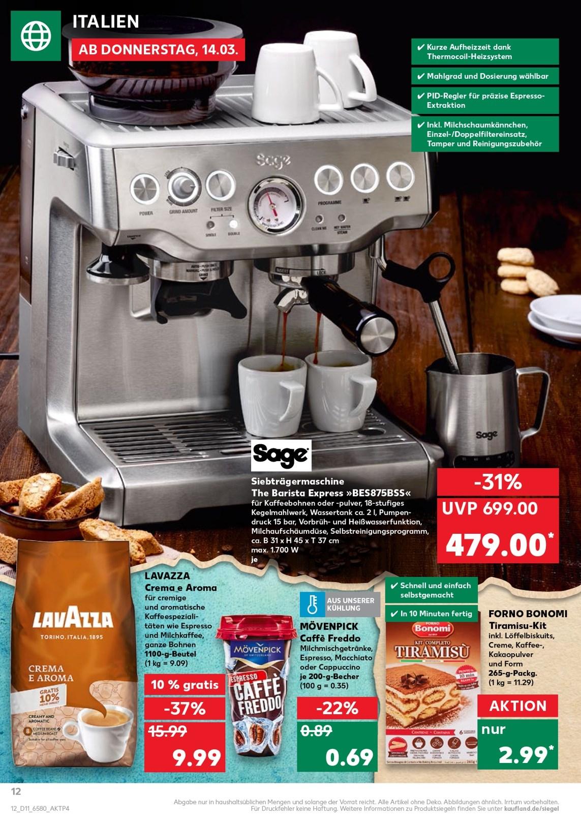 [Kaufland] Sage Barista Express Espresso-Maschine Edelstahl