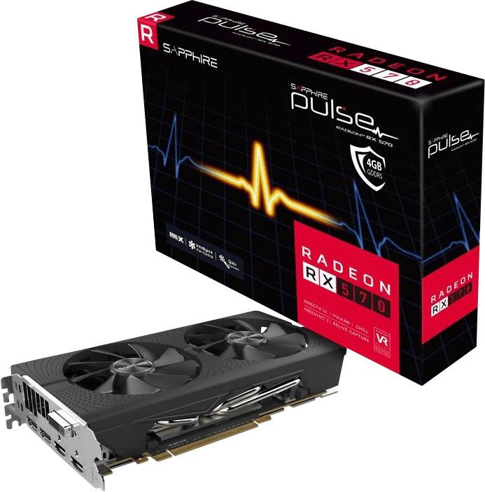 Sapphire Radeon RX 570 Pulse 4GB (1168/1284MHz, Dual-Slot, 2x Axial-Lüfter, 2x DisplayPort 1.4, 2x HDMI 2.0b, DVI, drei Jahre Garantie)