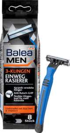 8 Balea 3-Klingen Rasierklingen; pro Stk 0,25€ statt 0,50€ bei DM