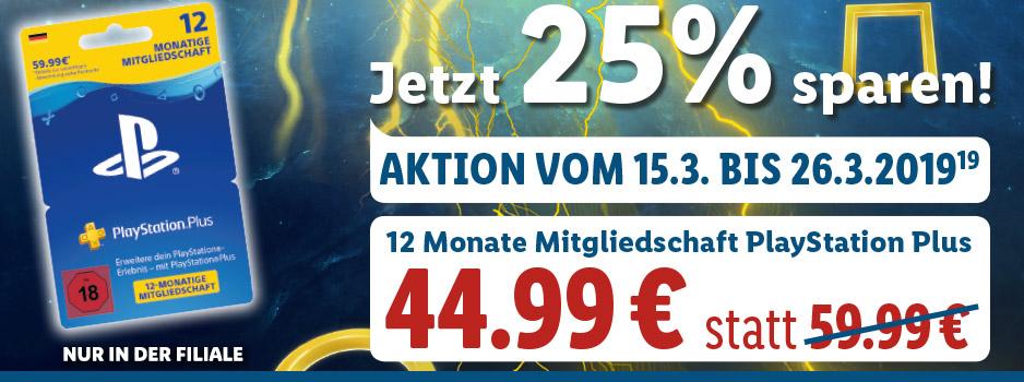 PlayStation®Plus: Mitgliedschaft für 12 Monate für 44,99€ [OFFLINE LIDL/ Gamestop]