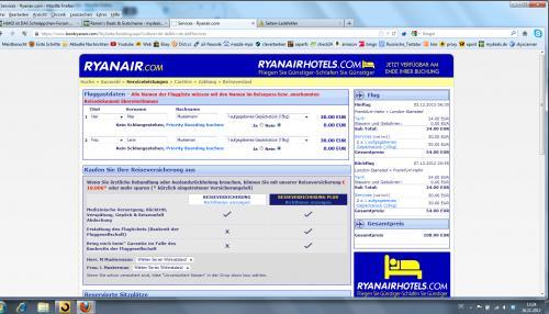 Frankfurt-Hahn - London Stansted, Flug vom 3.12.2012 - 7.12.2012 ( 4 Tage )mit Ryanair, zwei Personen mit je einem Gepäckstück ( 15 KG ) für 108 Euro Hin u. Zurück. Oder Abreise am selben Tag um 20:45 Uhr, dann kostet es 77,84€ ohne Gepäck für 2 Pers