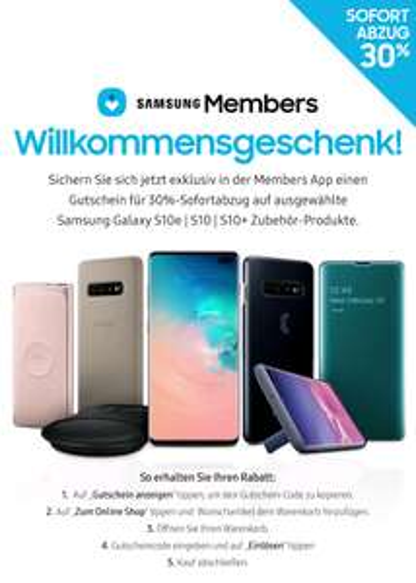 Galaxy S10/S10+/S10e Zubehör Willkommensgeschenk 30%