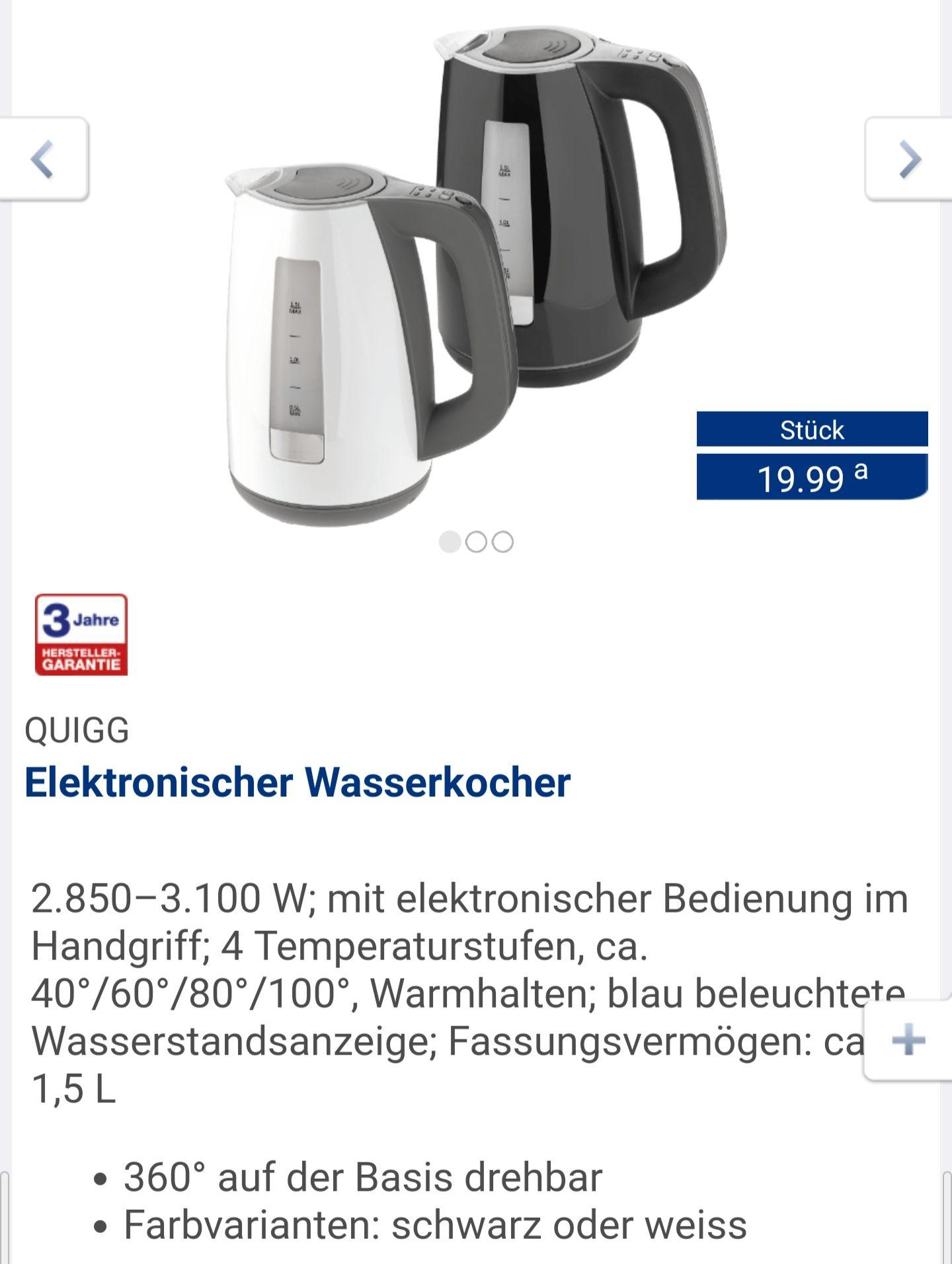[ALDI Nord, 18.3.] Wasserkocher mit 3.100 Watt