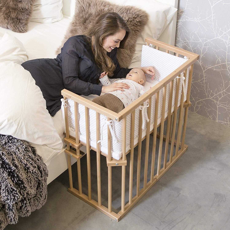 Babybay Beistellbett Midi (natur lackiert) - verwandelbar in Sitzbank, Spieltisch oder einen Laufstall im Handumdrehen