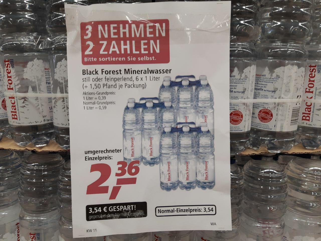 REAL Black Forest Wasser 3x6 kaufen und nur 2x6 bezahlen / still oder fein perlend oder gemischt NUR BIS SAMSTAG, 16.03