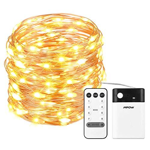 Mpow 10m Lichterkette mit 100 LEDs (warmweiß / kaltweiß, Timer, Strom über Batterien oder USB, Fernbedienung, Perfekt für Singles) [Prime]