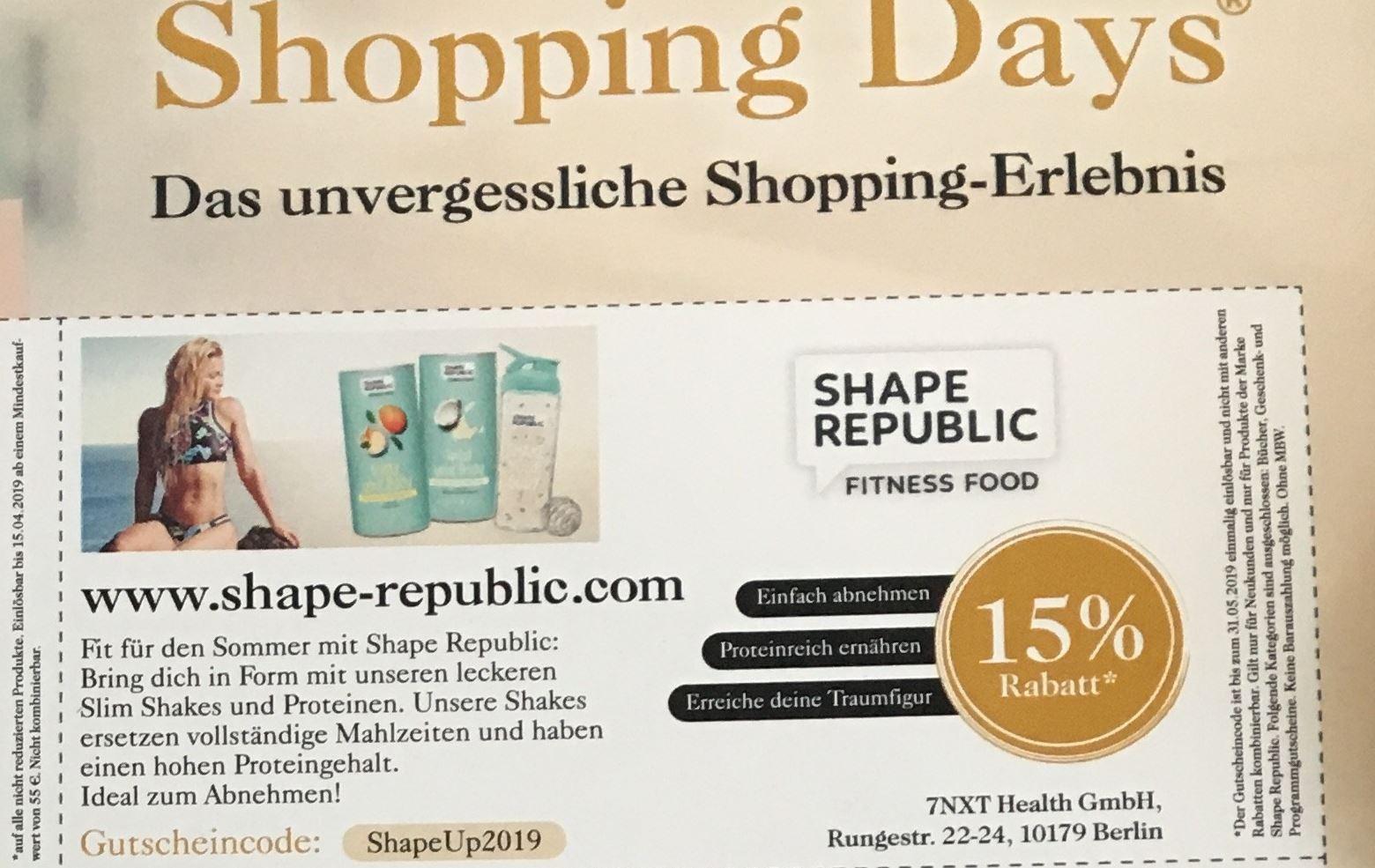15% auf alle Shape Republic Produkte!!