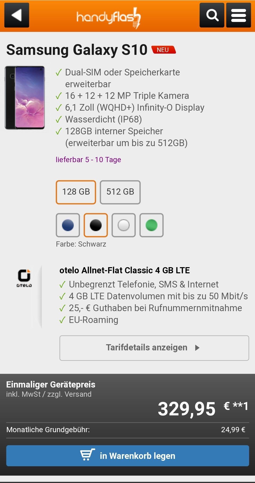 Samsung Galaxy S10 Otelo Allnet Flat Classic 4GB LTE/Young 6 GB- 949,71€ 6 GB/Young 12 GB