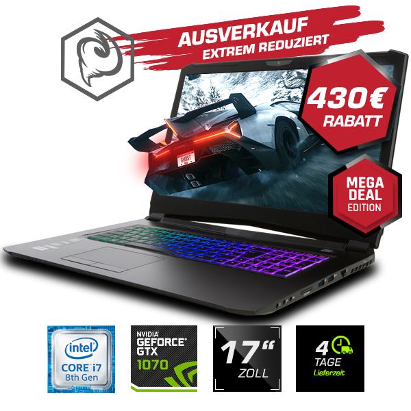 "Guru Storm KS Gaming Laptop (17,3"" FHD IPS, 60 Hz, G-Sync, i7-8750H, GTX 1070 8GB, 16GB Crucial RAM, 500GB SSD, WLAN ac, ohne OS)"