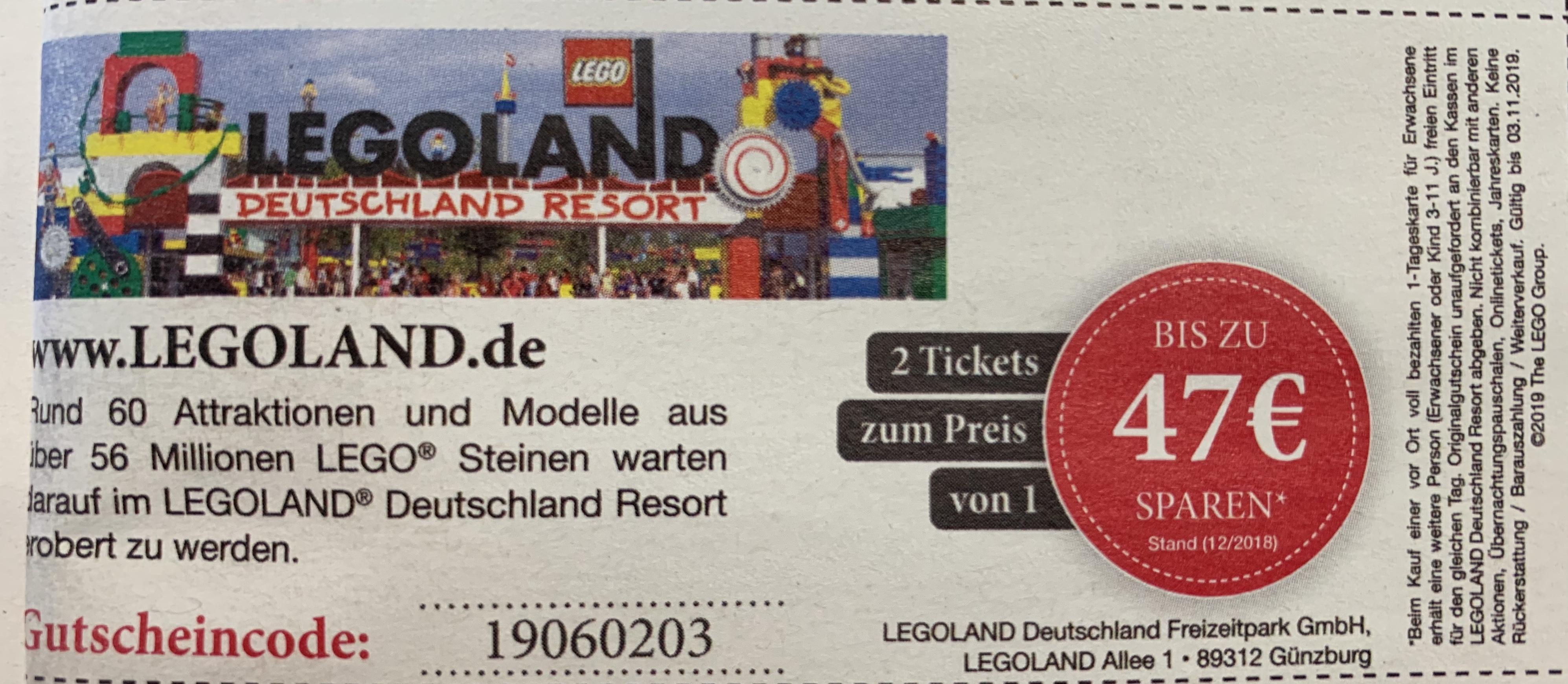Legoland - 2 Tickets zum Preis von EINEM! (Tagesticket)