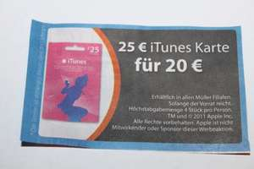 25€ iTunes Karte für 20€ bei Müller [offline]