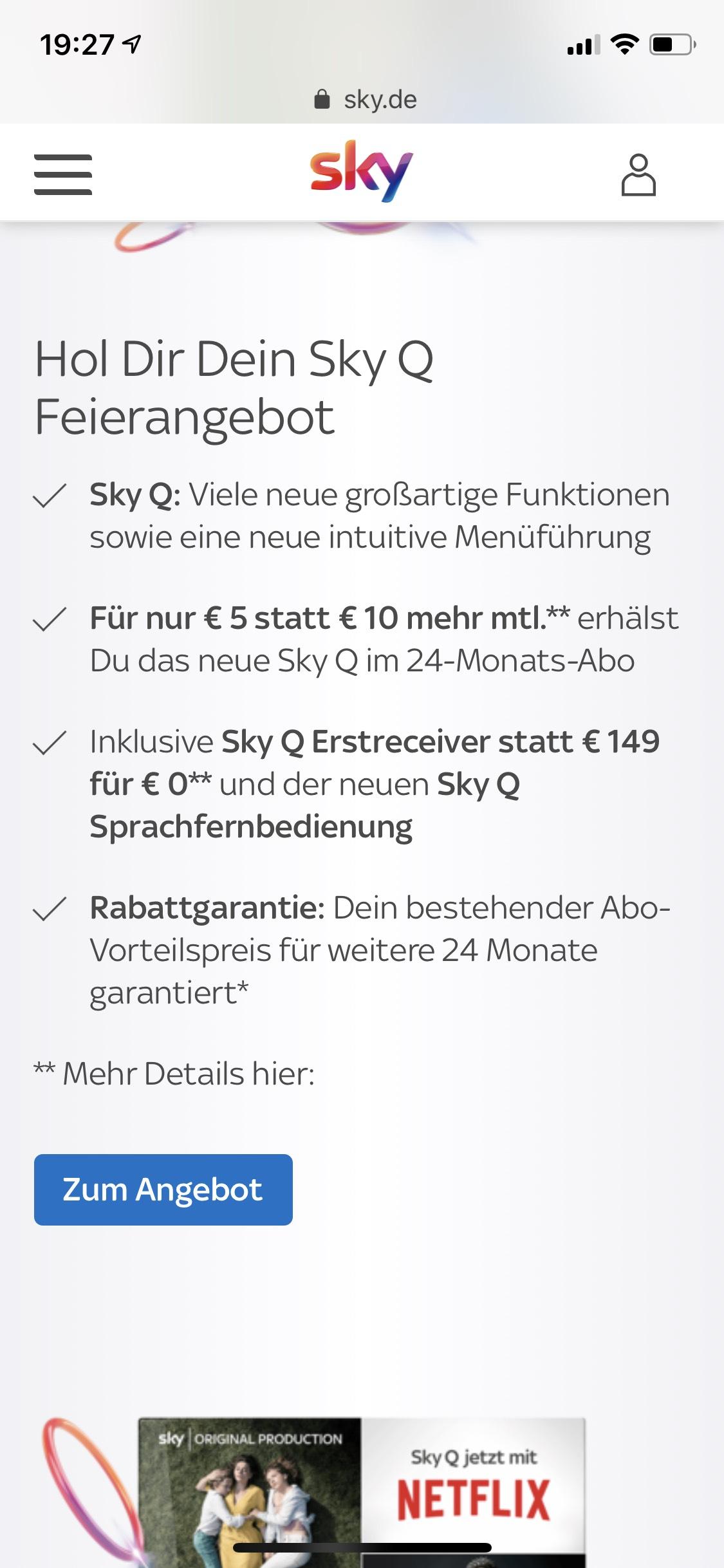 Sky Q für 5€ monatlich für Bestandskunden