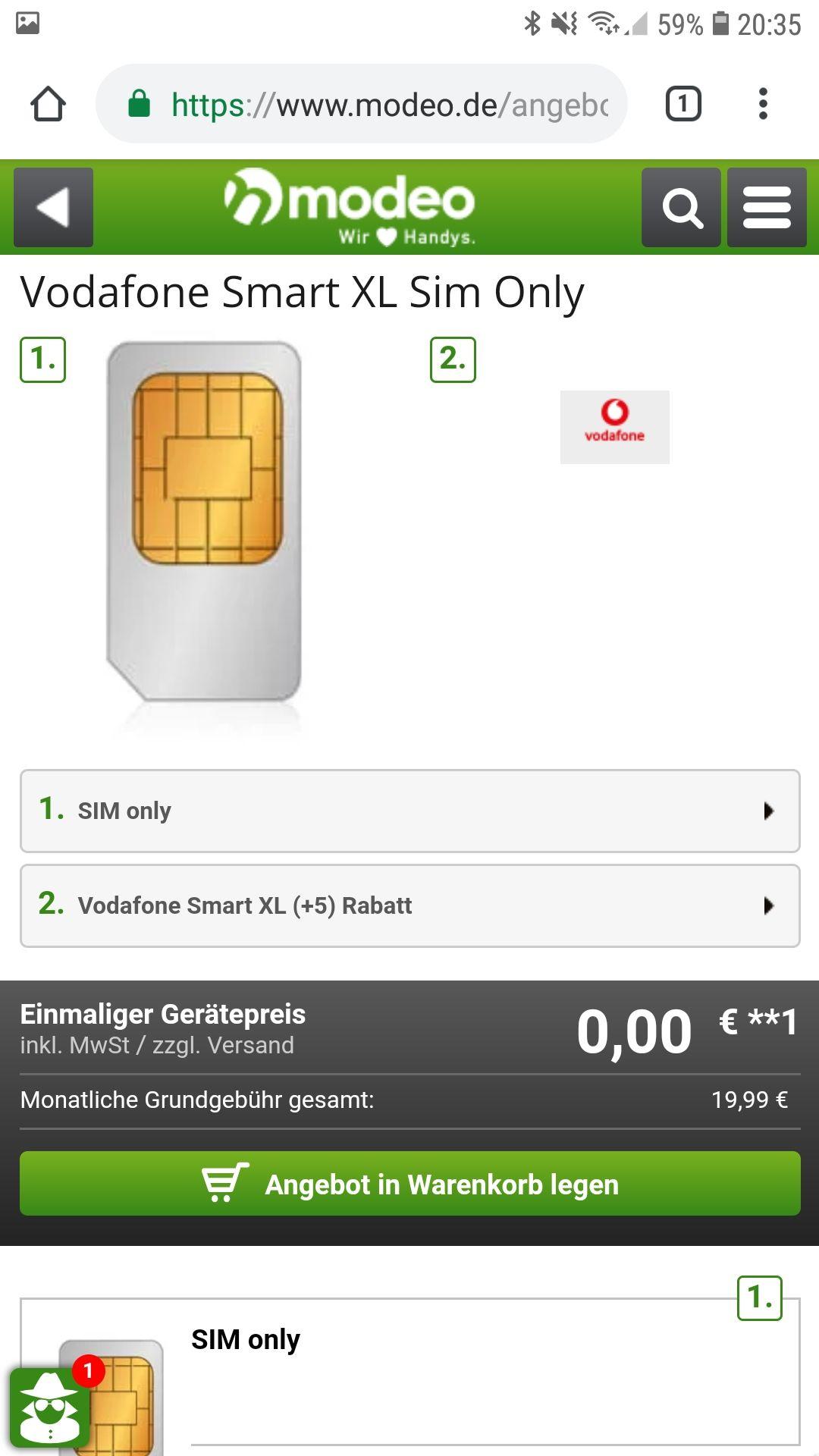 Vodafone XL Sim Only bei Modeo (19.99€ Monat) 11GB LTE 500 Mbit/s Allnet
