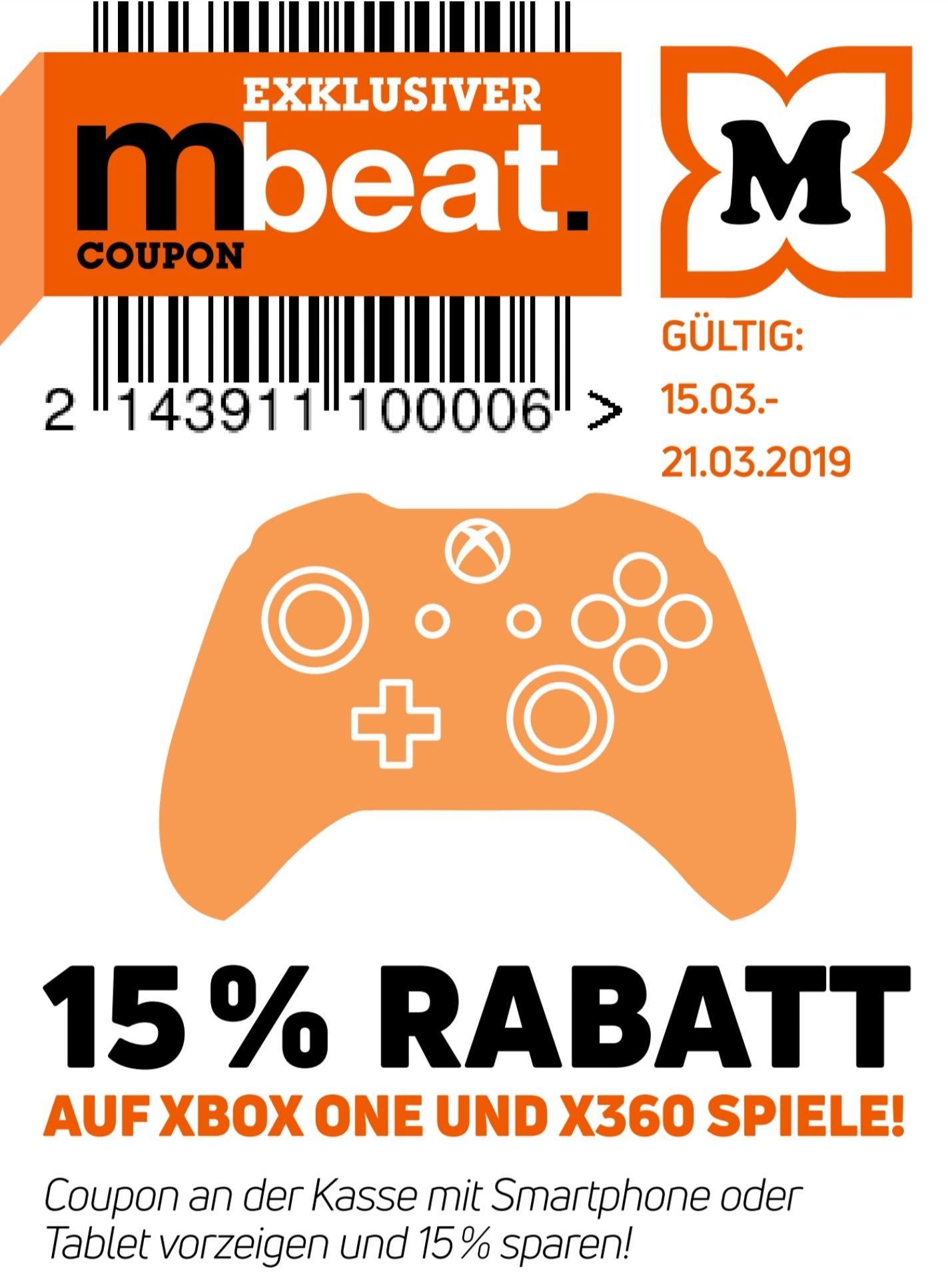 15% auf alle Xbox One & 360 Spiele z.B. The Division 2 für 50,99€, Red Dead Redemption 2 für 33,99€ o. GTA 5 für 16,99€. [Offline Müller]