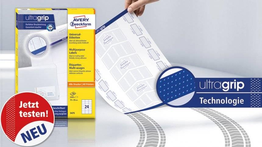 ultragrip Etikettenbögen für Drucker jetzt kostenlos testen