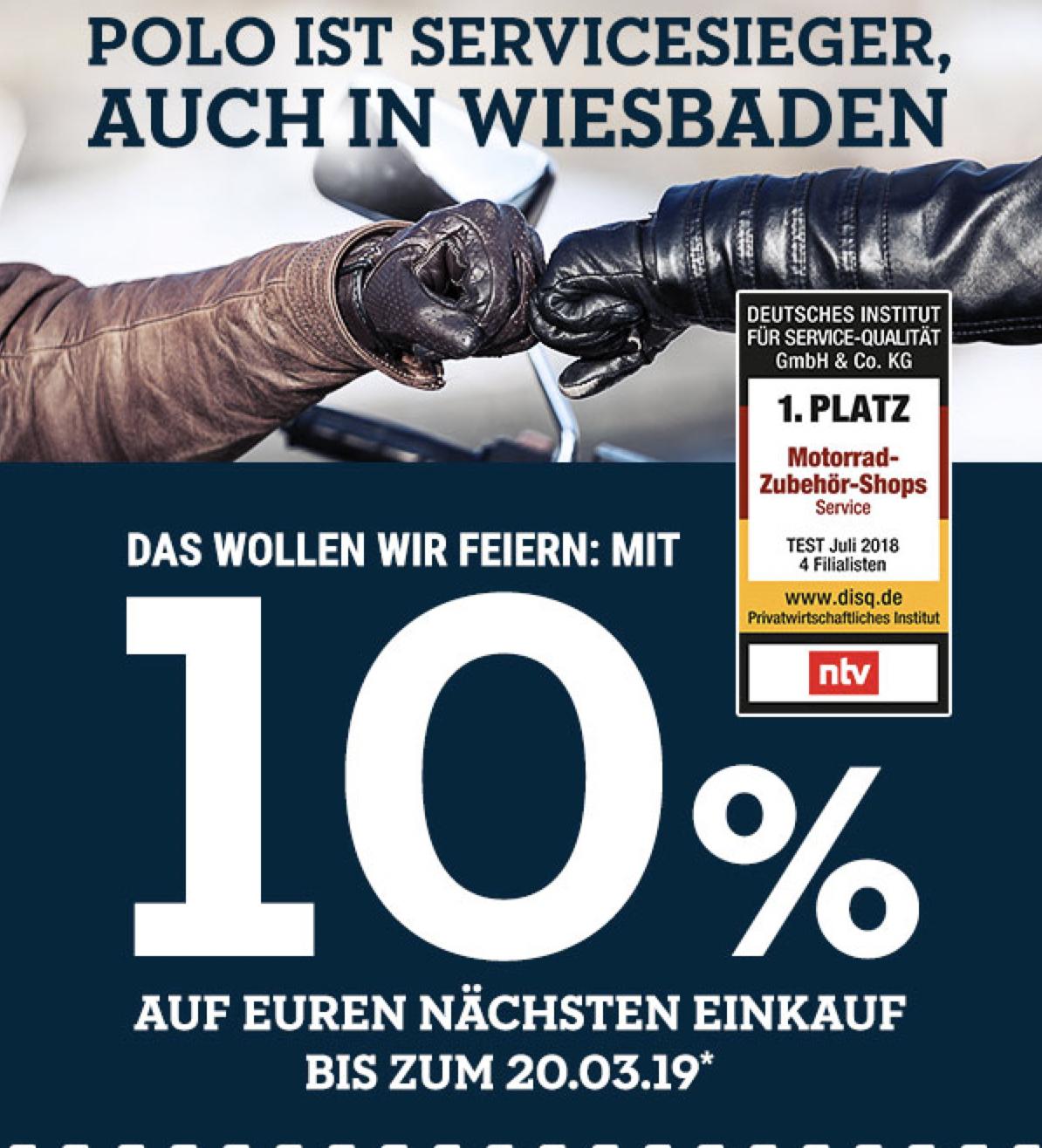 (lokal Wiesbaden) Polo Motorrad: 10% auf den nächsten Einkauf